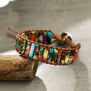 BoHo Wrap Bracelet - Imperial Jasper/Vegan Leather